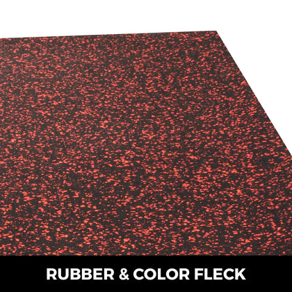 Rubber Flooring Rolls Red Speckle 9.5mm 4'x6' Home Gym Durable Equipment Mat
