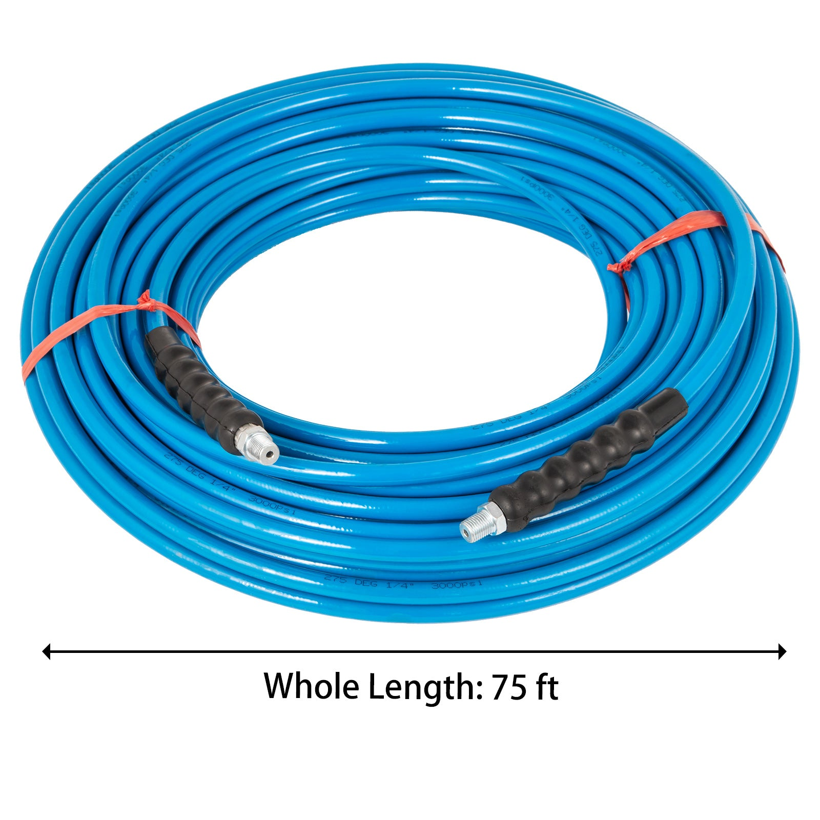 "1/4"" 75ft Pressure Washer Hose 120℃ Steel Cold Water Replacement Quick Connect"