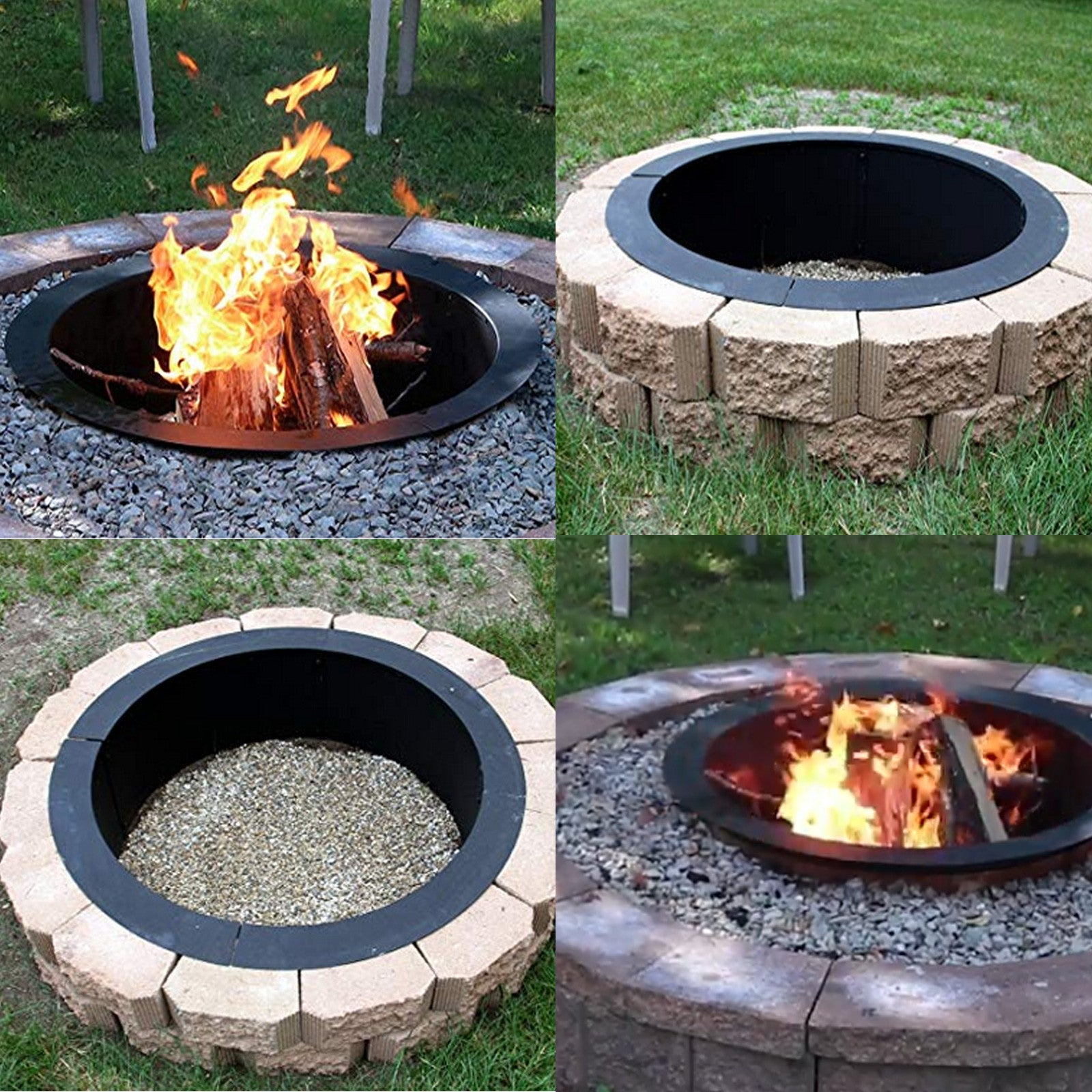"45""x 39"" Fire Pit Ring Liner Steel round Durable Steel Camp Sites Drop-in"