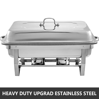 2 Packs Chafing Dish With 1/3 Inserts 9 L Chafer Buffet Folding With Clip