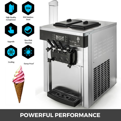 Commercial Countertop Soft Ice Cream Machine Lcd Control Panel 60hz 20-28l/h
