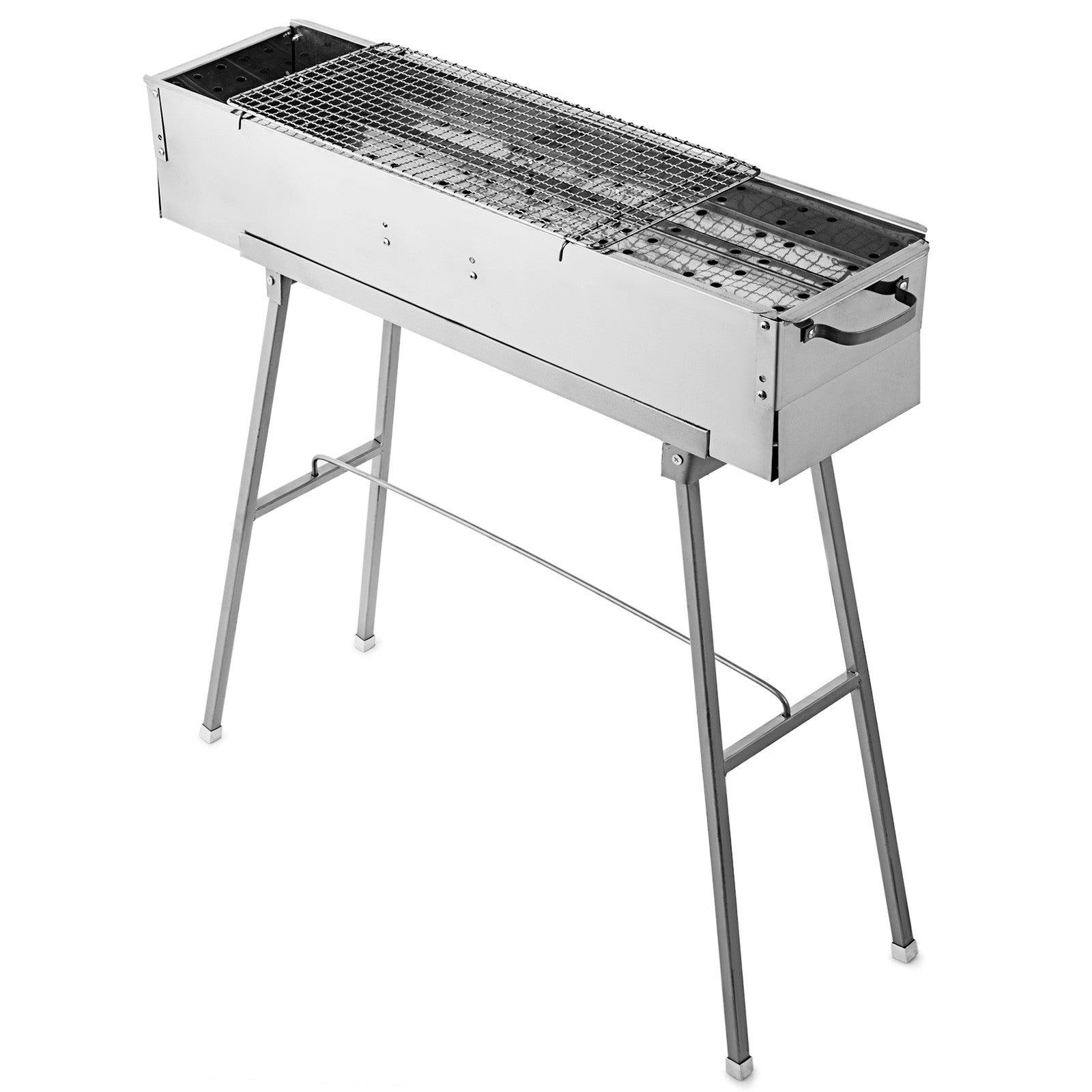 "Charcoal Bbq Grill 32"" X 8"" Folded Portable Stainless Steel Outdoor Barbecue"