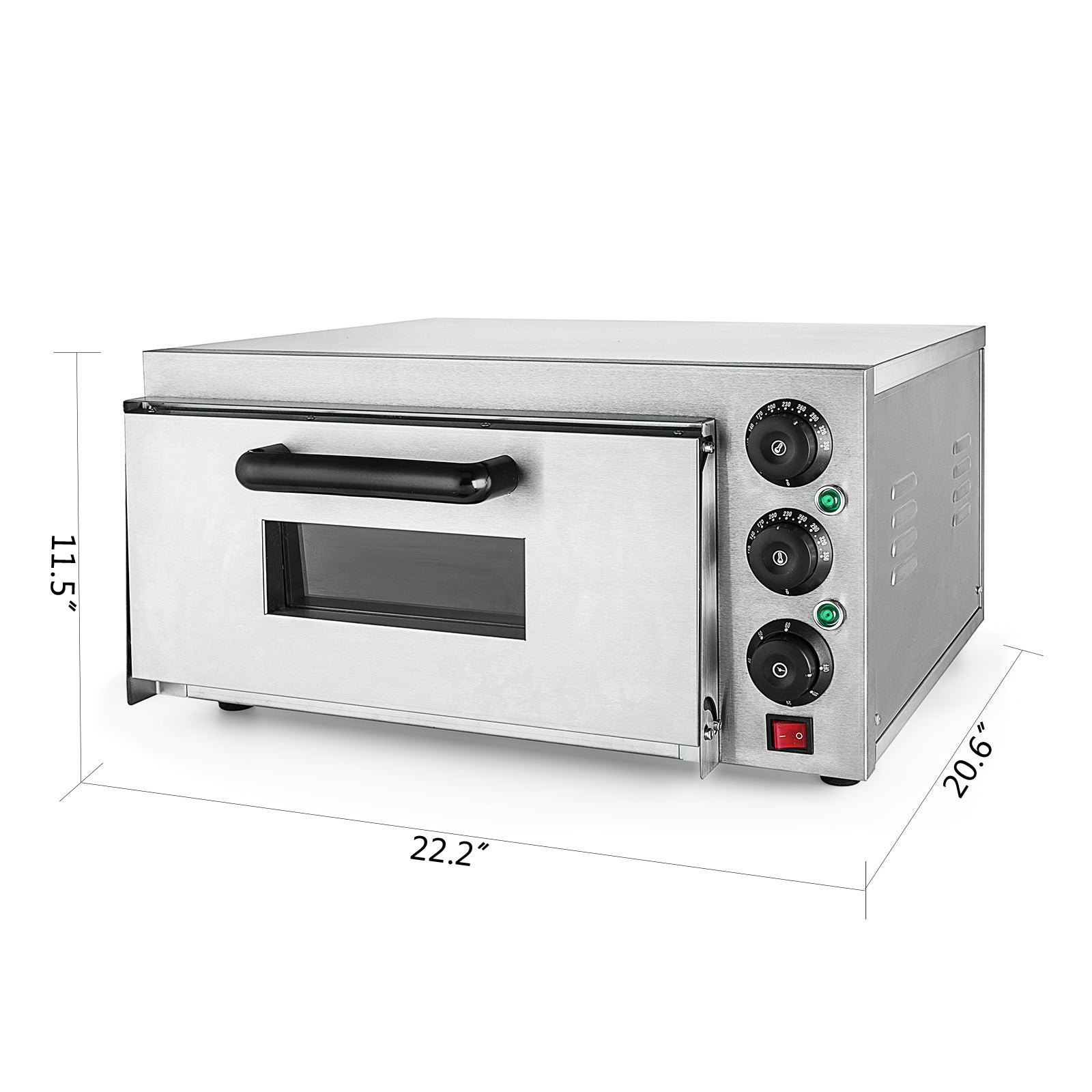 Electric 2000w Pizza Oven Single Deck Baking Oven Restaurant Stainless Steel