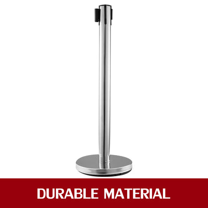 Stainless Steel Crowd Control Stanchion Red Belt Retractable Queue Posts