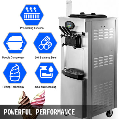 2200w Commercial Soft Ice Cream Machine 3 Flavors Snack Shop Cafe 2+1 Flavors