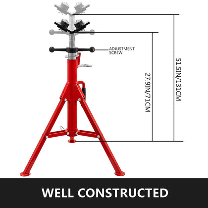 Pipe Jack Stand 1500lbs V-head With 4-ball Transfer Head Folding Legs 71-131cm
