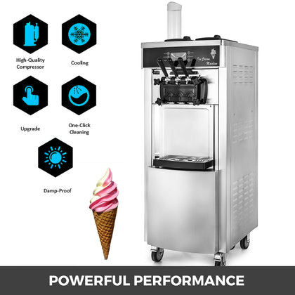 Commercial Mix Flavor Ice Cream Machine Ice Cones Maker Sorbet Machine Ledscreen