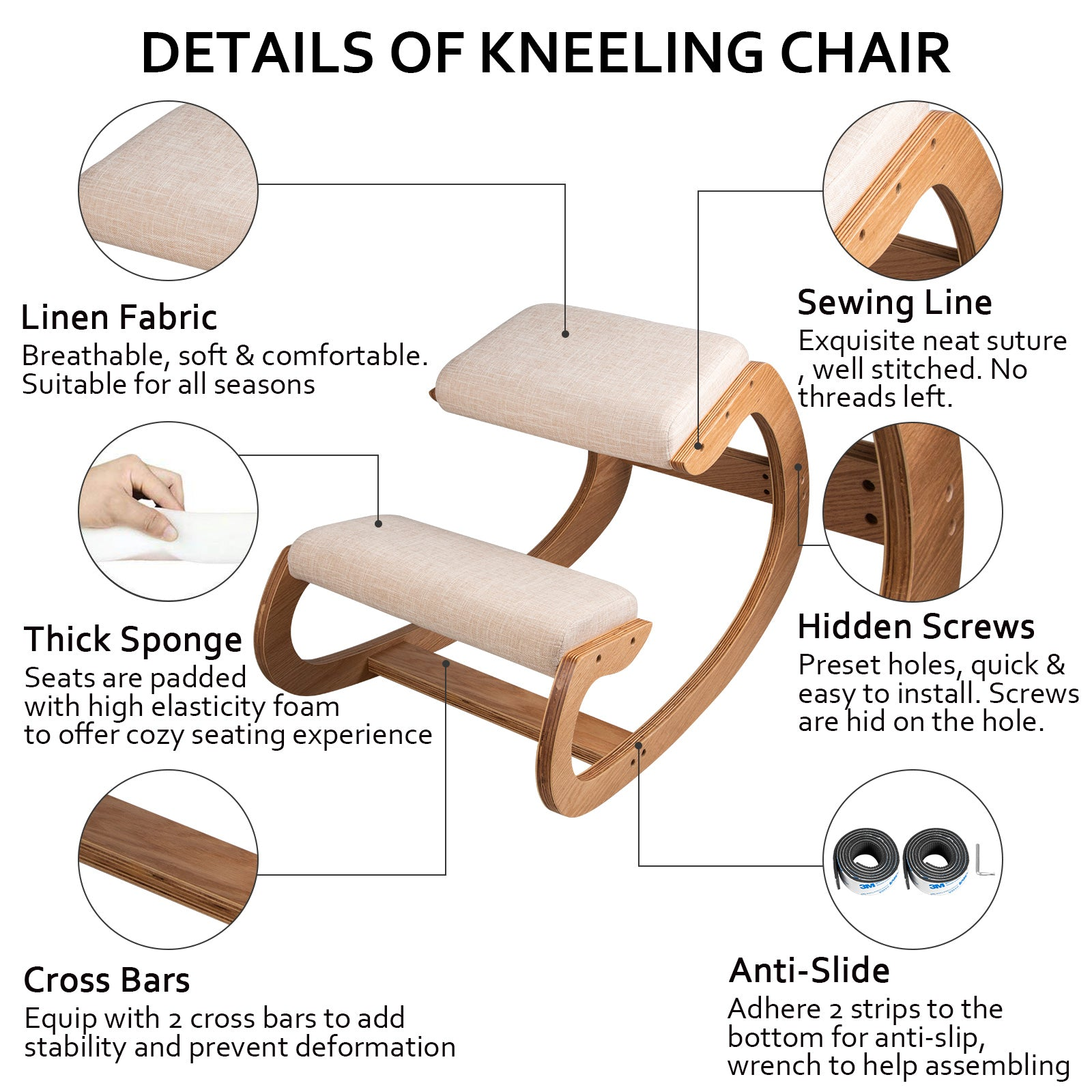 Ergonomic Kneeling Chair Wooden Sturdy Neck Pain Relief Posture Correcting