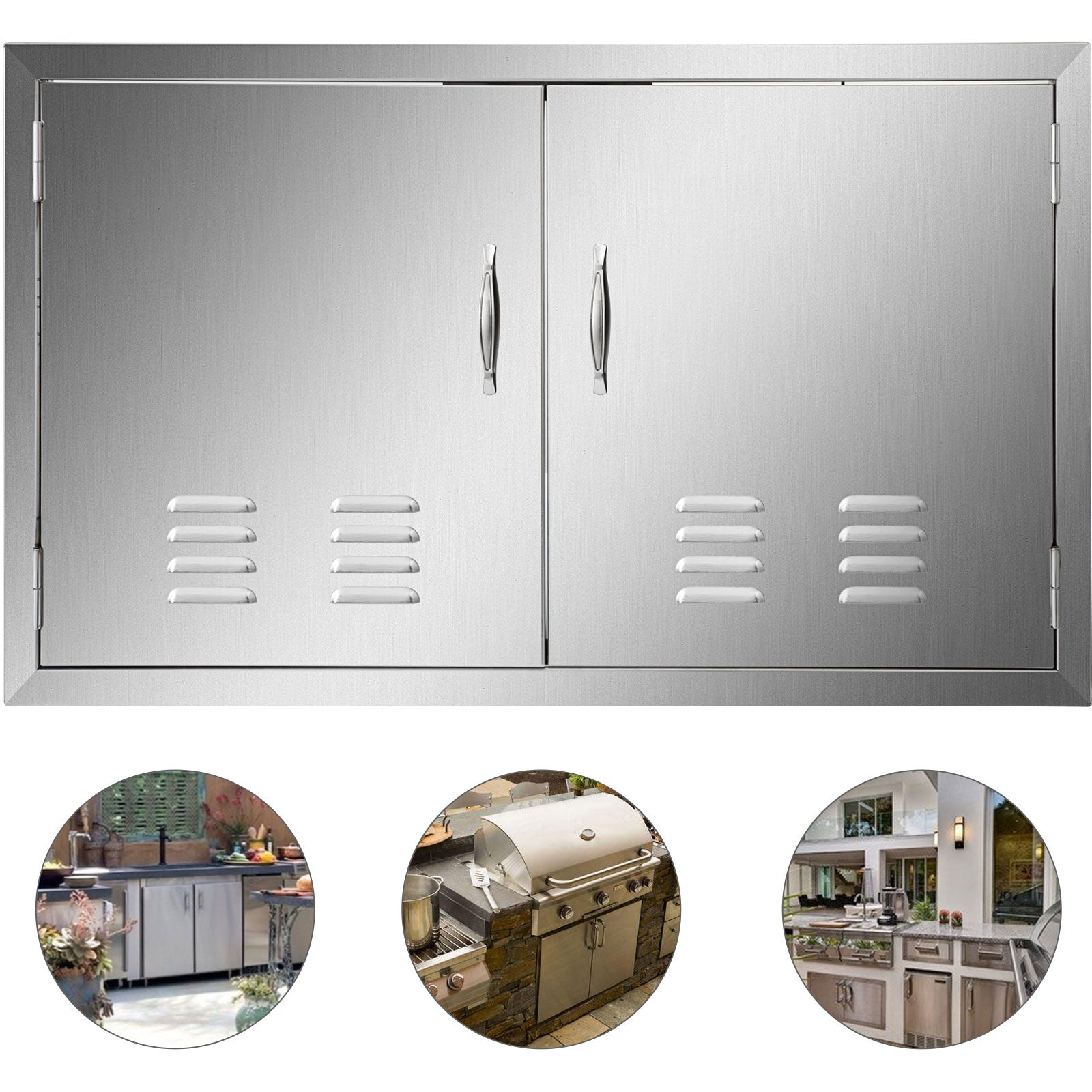 91x53cm Bbq Door Double Access Door With Vent Handle Rust Resistant Commercial