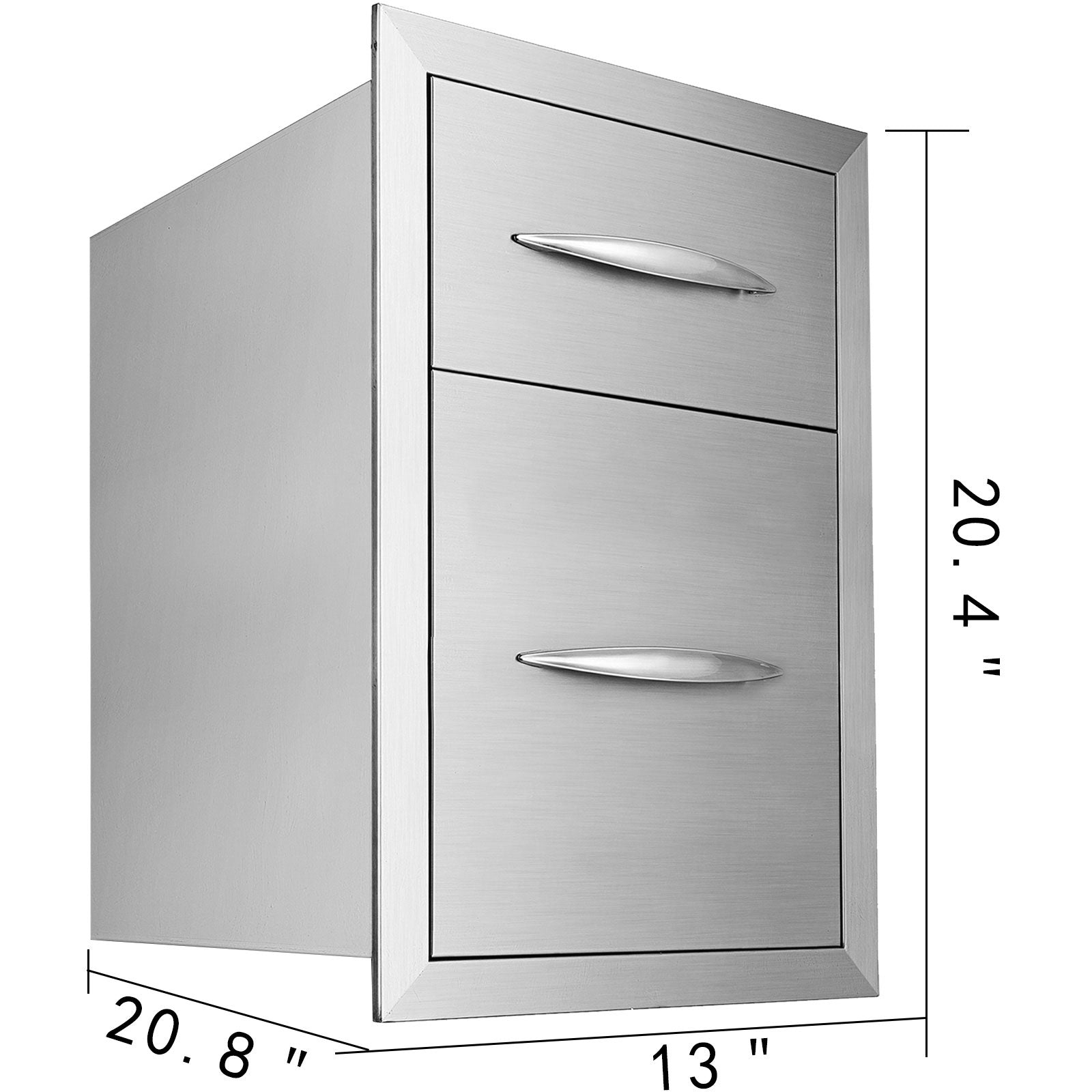 Double Bbq Access Drawer 53*33*52cm Built-in Cabinet Enclosed Drawer Polished