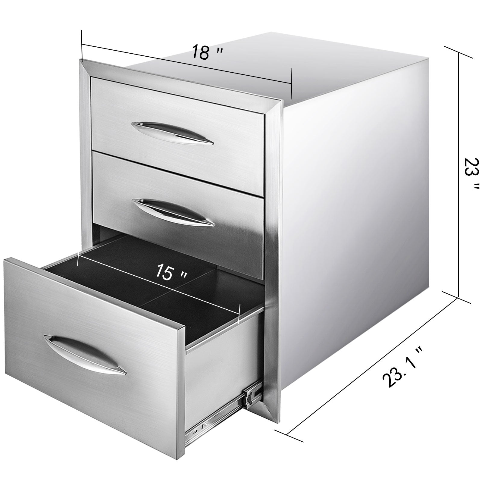 Outdoor Kitchen Drawer Bbq Island Drawer Storage 45x58 Cm Stainless Steel Drawer