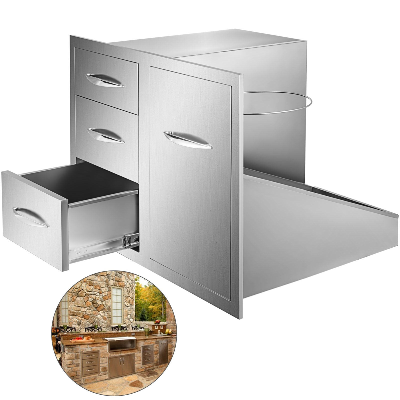 Kitchen Bbq Door & Triple Drawer Combo 75cm Bbq Island Storage W/ Trash Bag Ring