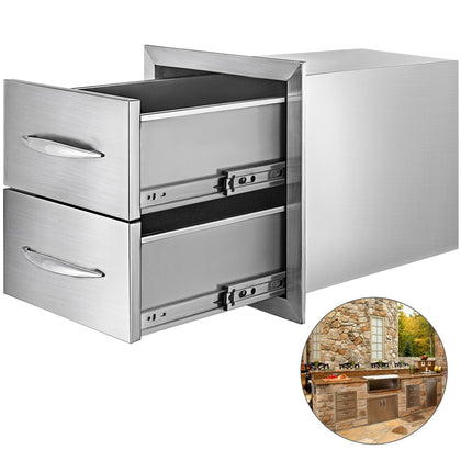 Double Bbq Access Drawer 35*40 Cm Commercial Storage Flush Mount Grill Storage