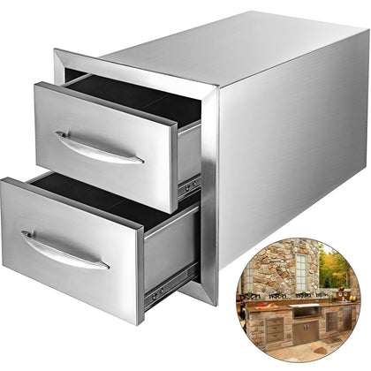 35*57 Cm Stainless Steel Double Drawers Chest Of Drawers Convenient Square