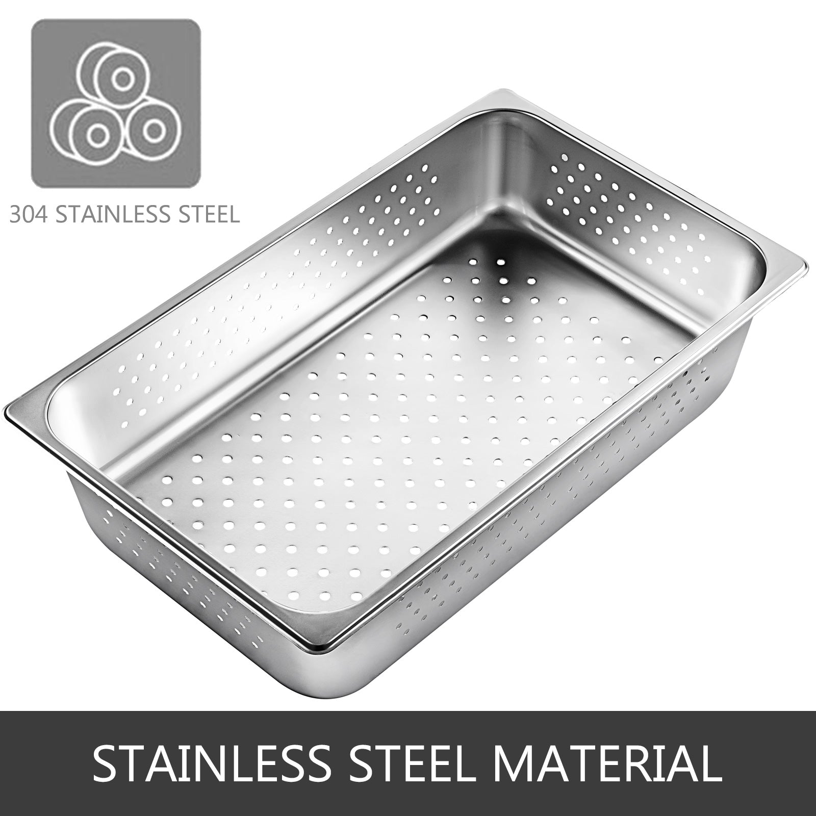 Perforated Steam Pan Hotel Pans 6 Packs 100mm 1/1 Deep 304 Stainless Steel Trays