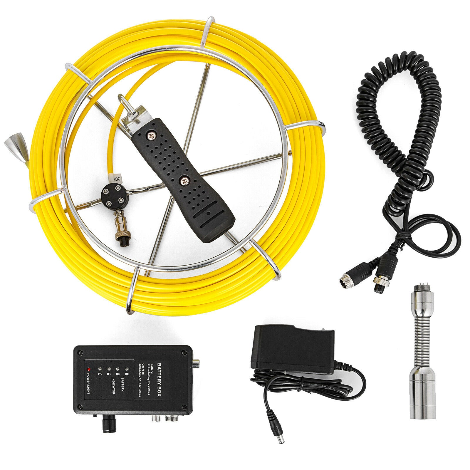 65.6ft Cable Pipe Inspection Camera Kit Endoscope Ip68 Water-proof Night Vision
