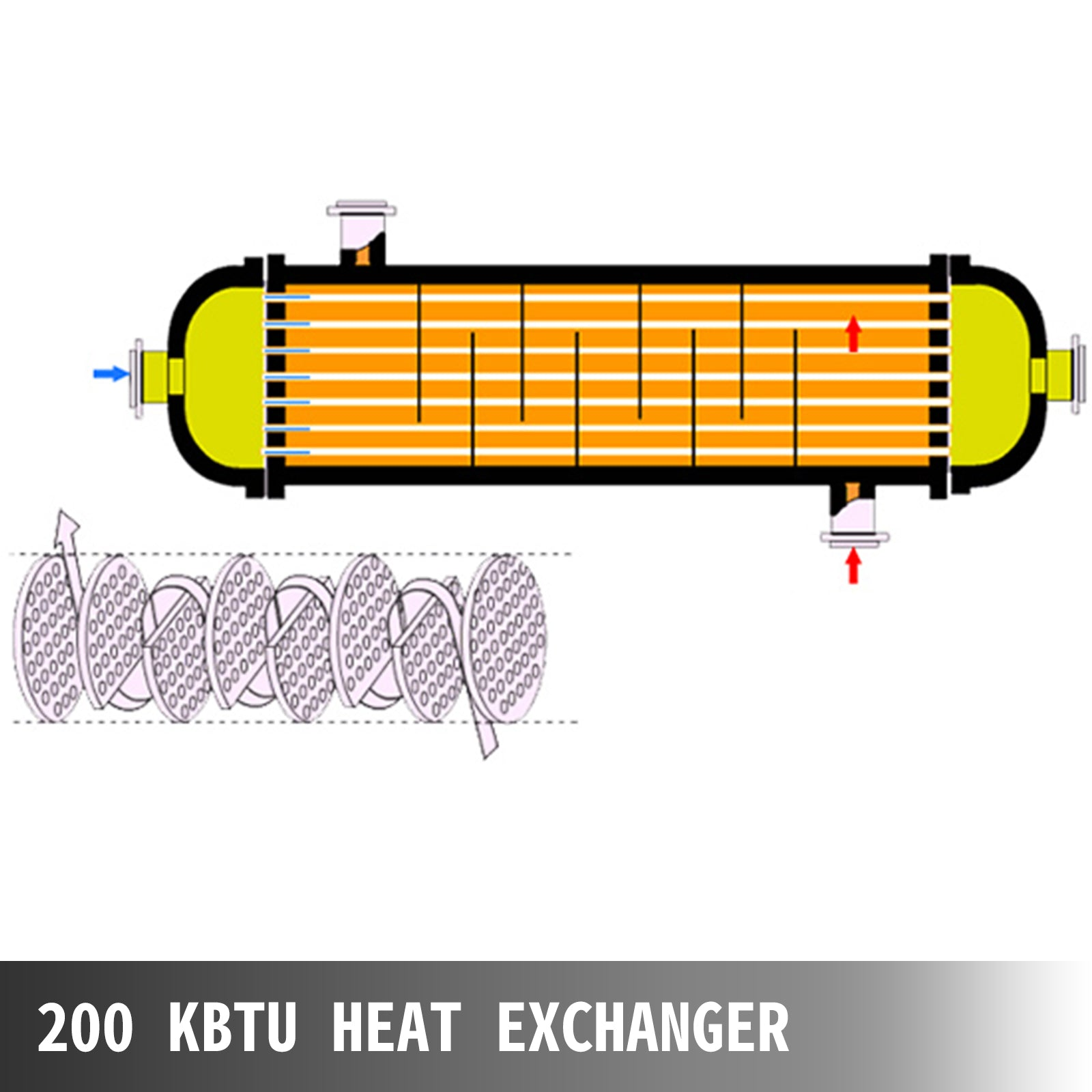 Pool Heat Exchanger Tube Shell Heat Exchanger 200 Kbtu/h Pool Heat Exchanger