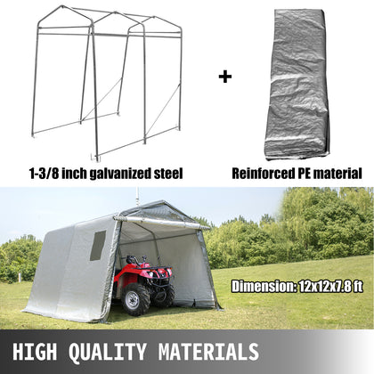 Portable Storage Shed, Shelter Logic Shed 12x12x7.8 Ft, Garage Storage Shelter