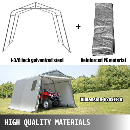 Portable Storage Shed, Portable Garage Shelter, 8x8x7.8 Ft Storage Shelter, Grey