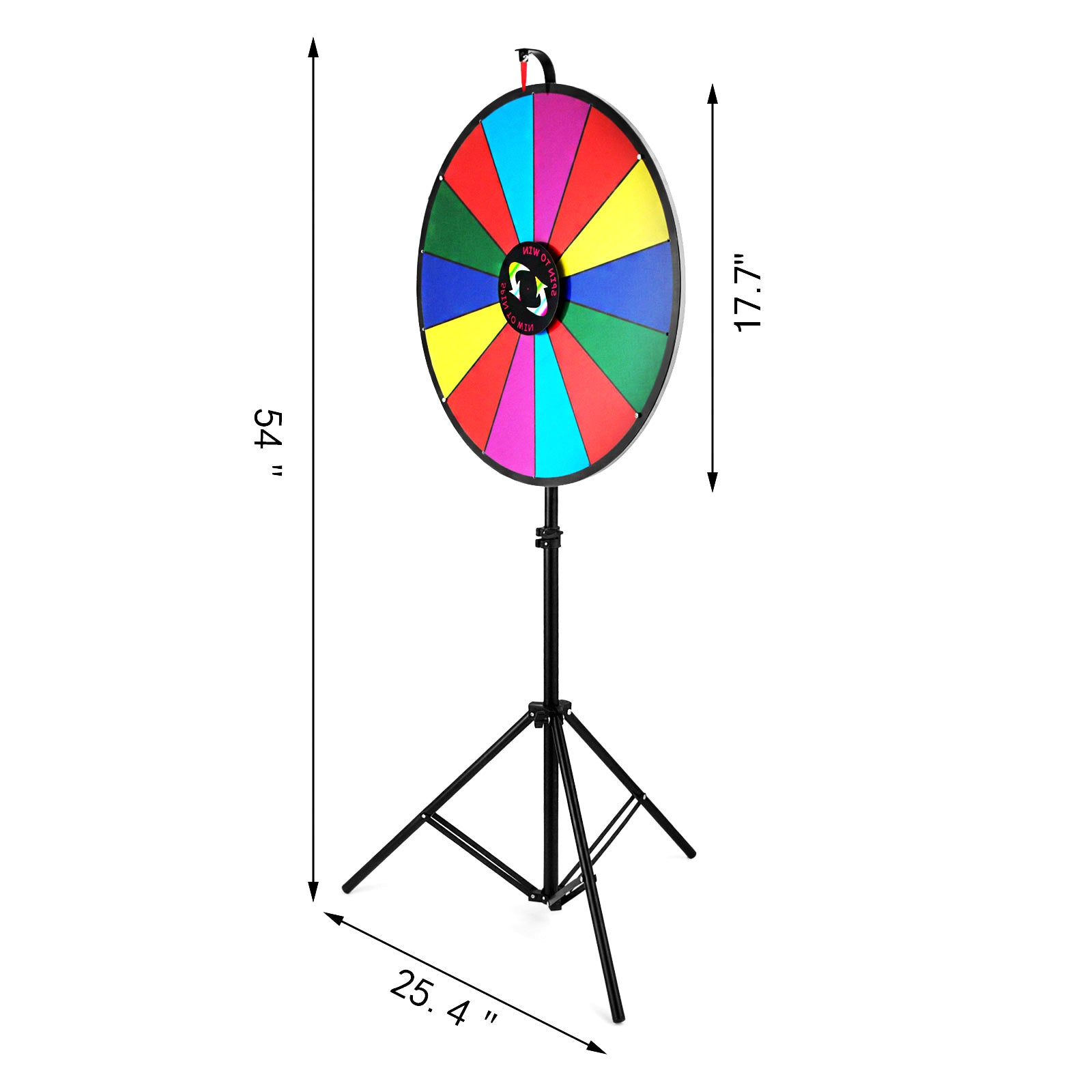 "18"" Color Prize Wheel Fortune 14 Slot Floor Stand Spin Game Tradeshow Carnival"
