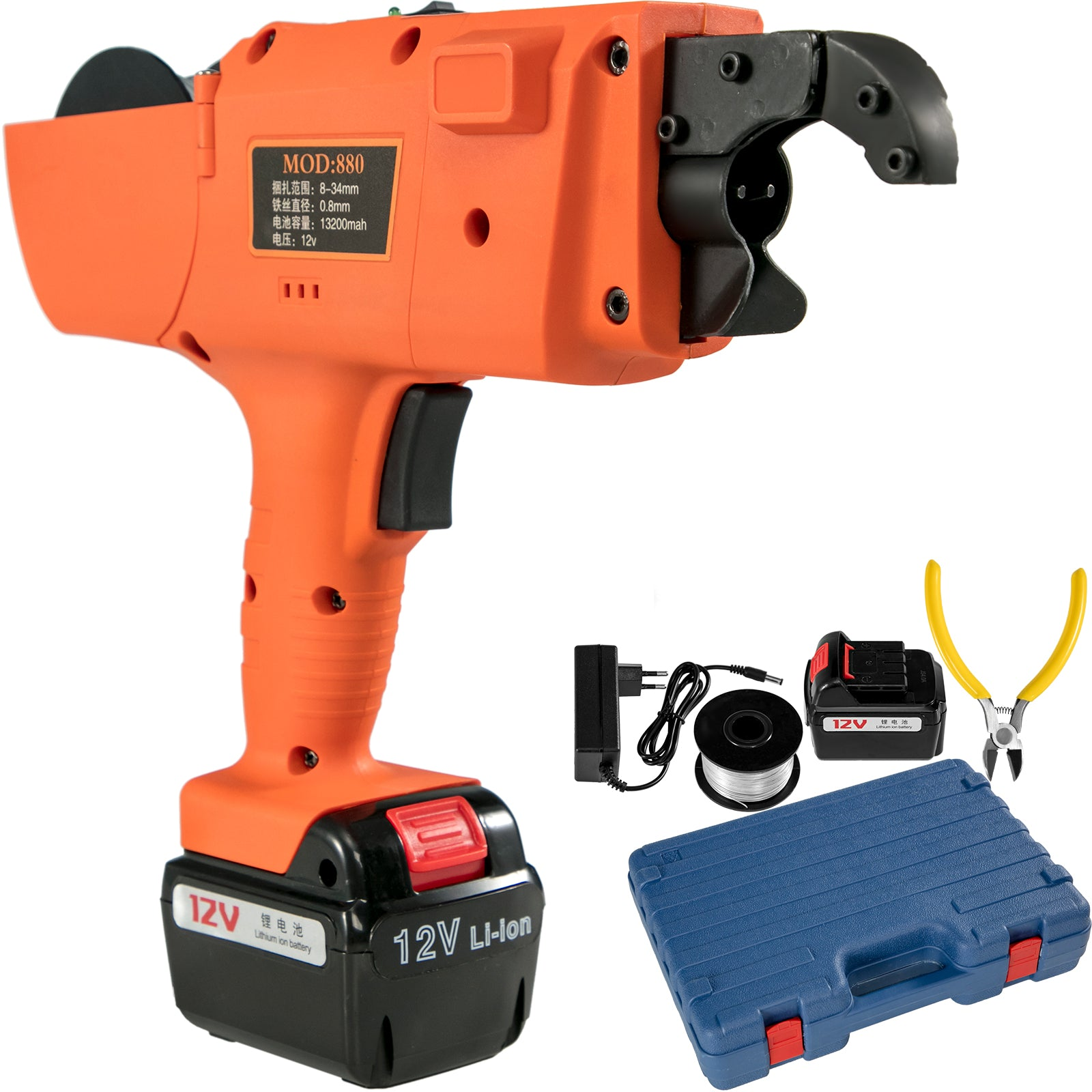 12v Automatic Handheld Rebar Tier Tool Strapping 8mm-34mm Tying Machine+charger