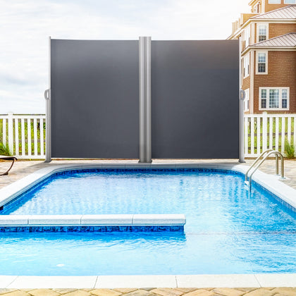 Retractable Patio Screen Retractable Fence 63x118inch Privacy Screen Outdoor