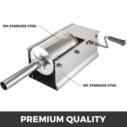 5l Sausage Stuffer Filler Maker Commercial Stainless Steel Horizontal 5 Nozzles