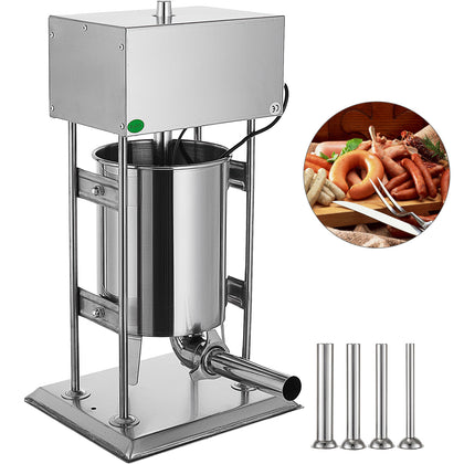 10l Electric Sausage Stuffer Filler Maker Commercial Stainless Steel 4 Nozzles