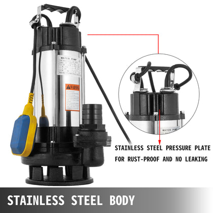 2200w Heavy Duty Submersible Electric Clean Dirty Pond Flood Sewage Water Pump