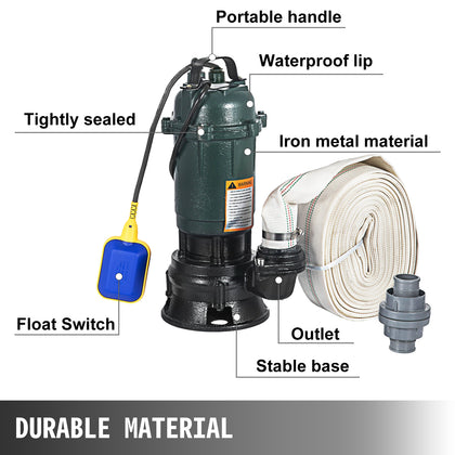 500w Submersible Sewage Dirty Water Pump Drainage Sump Heavy Duty 230/50hz