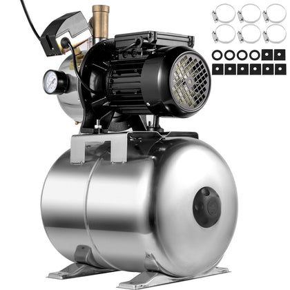 Vevor Shallow Well Jet Pump Stainless Steel Well Jet Pump1000w W/4.8 Gallon Tank
