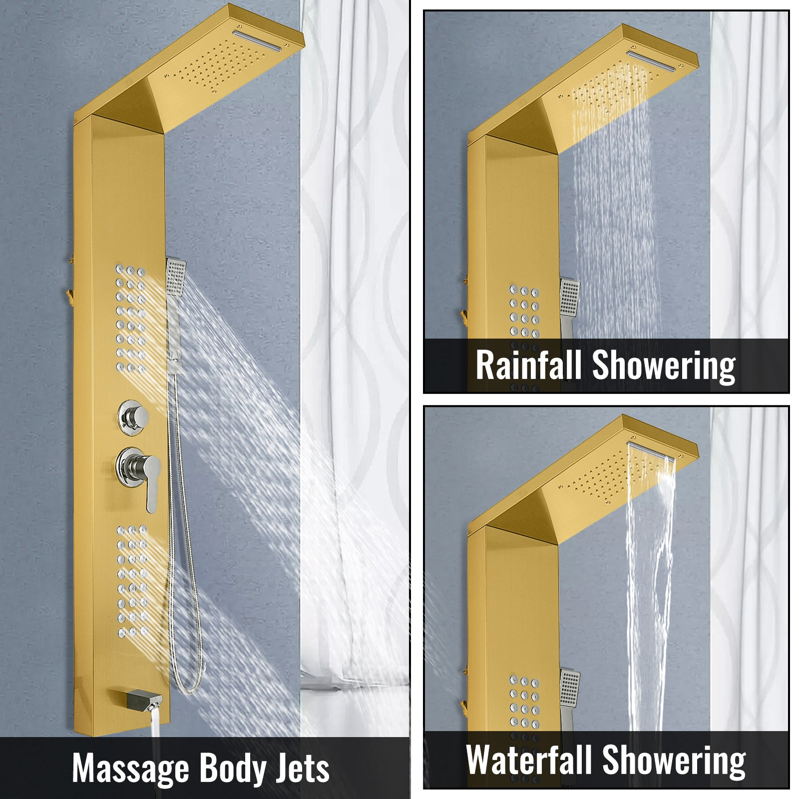 5 In 1 Shower Column Tower Panel With Twin Heads Tub Spout Elegant Waterfall