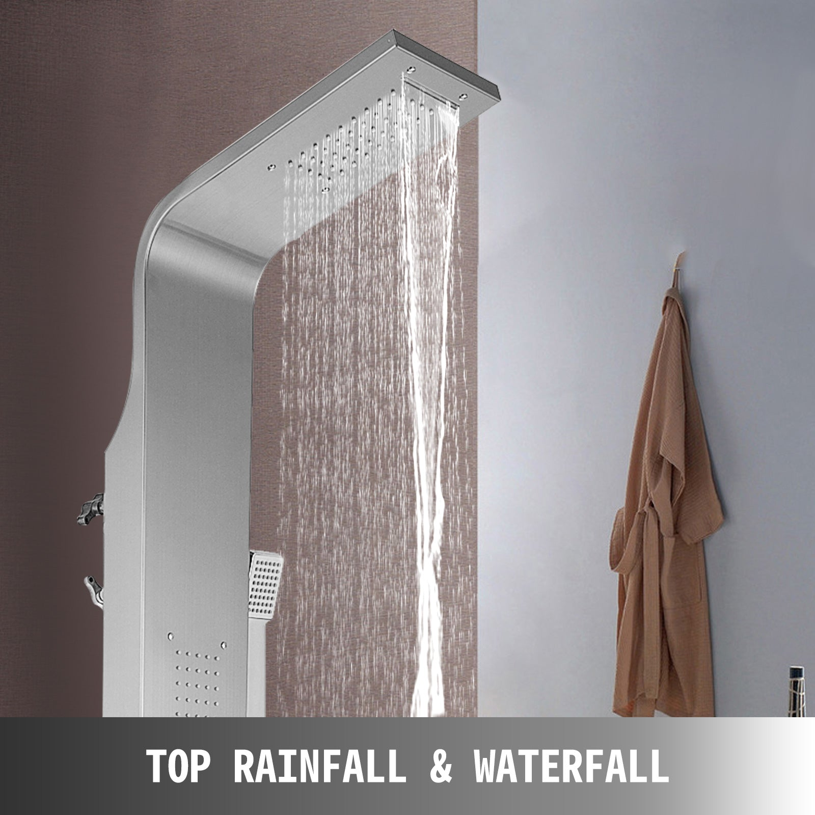Shower Tower Panel Silver Column Twin Heads Waterfall Shower Rain Body Jets