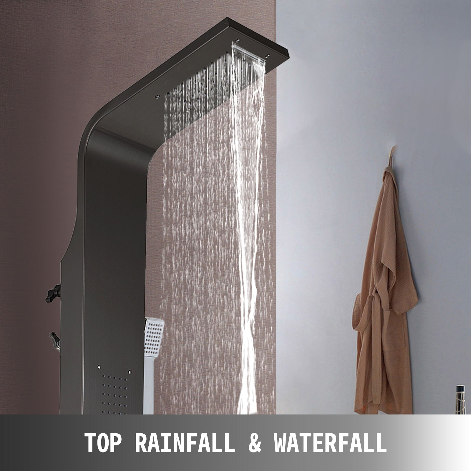 Stainless Steel Shower Panel Tower Waterfall&rain W/ Massage System Body Jet Tap