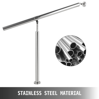Outdoor Stair Railing Step Handrail Stainless Steel Rail One Step 80x90cm Wall