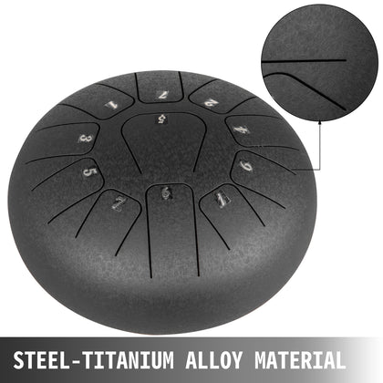 Steel Tongue Drum Percussion Instrument 11 Notes 8 Inches Steel Tank Drum Black