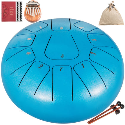Steel Tongue Drum Percussion Instrument 11 Note 8 Inch Steel Tank Drum Sky Blue