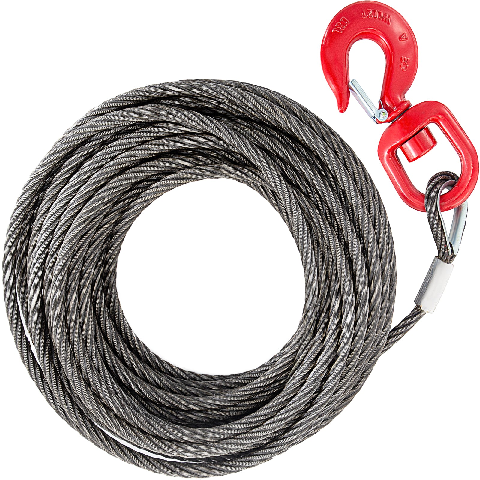 Winch Cable 10mm X 30m Fiber Core Self Locking Swivel Hook Tow Truck Flatbed