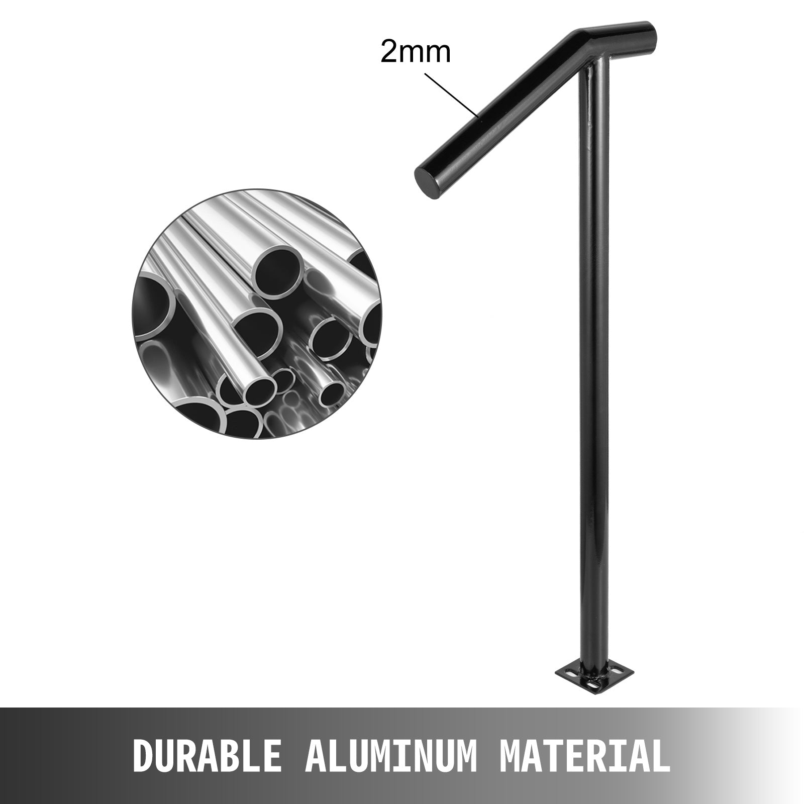 2-step Handrail Single Post Handrail Round Metal Handrail For Stairs Aluminum