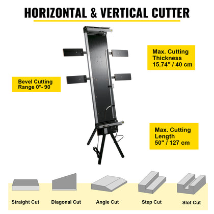Vevor Styrofoam Cutter 42cm Max. Cut Thickness 0-90° W/ 4 Side Plates+stand 220v