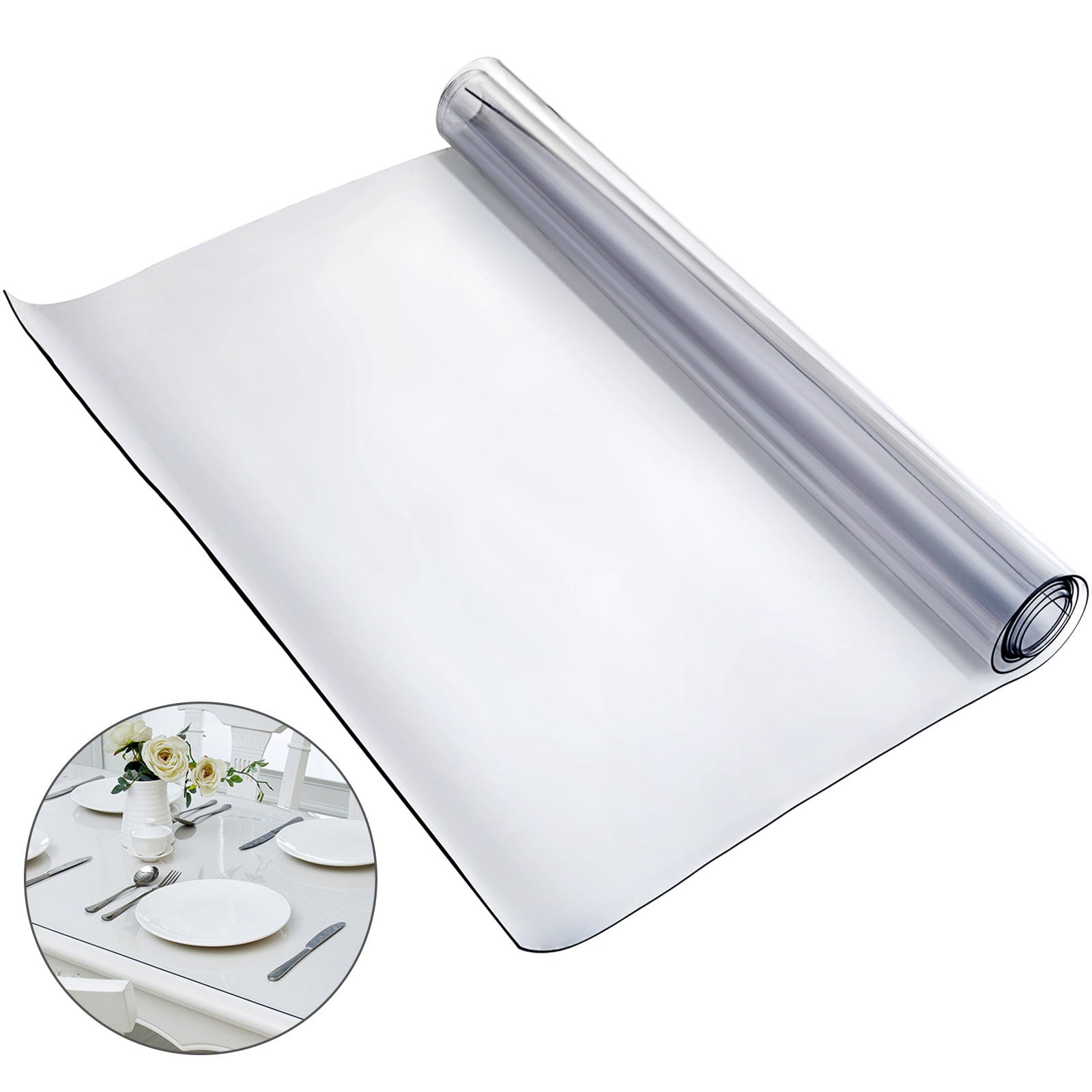 Pvc Tablecloth Protector 107 X 203 Cm Dining Table Cover Desk Waterproof