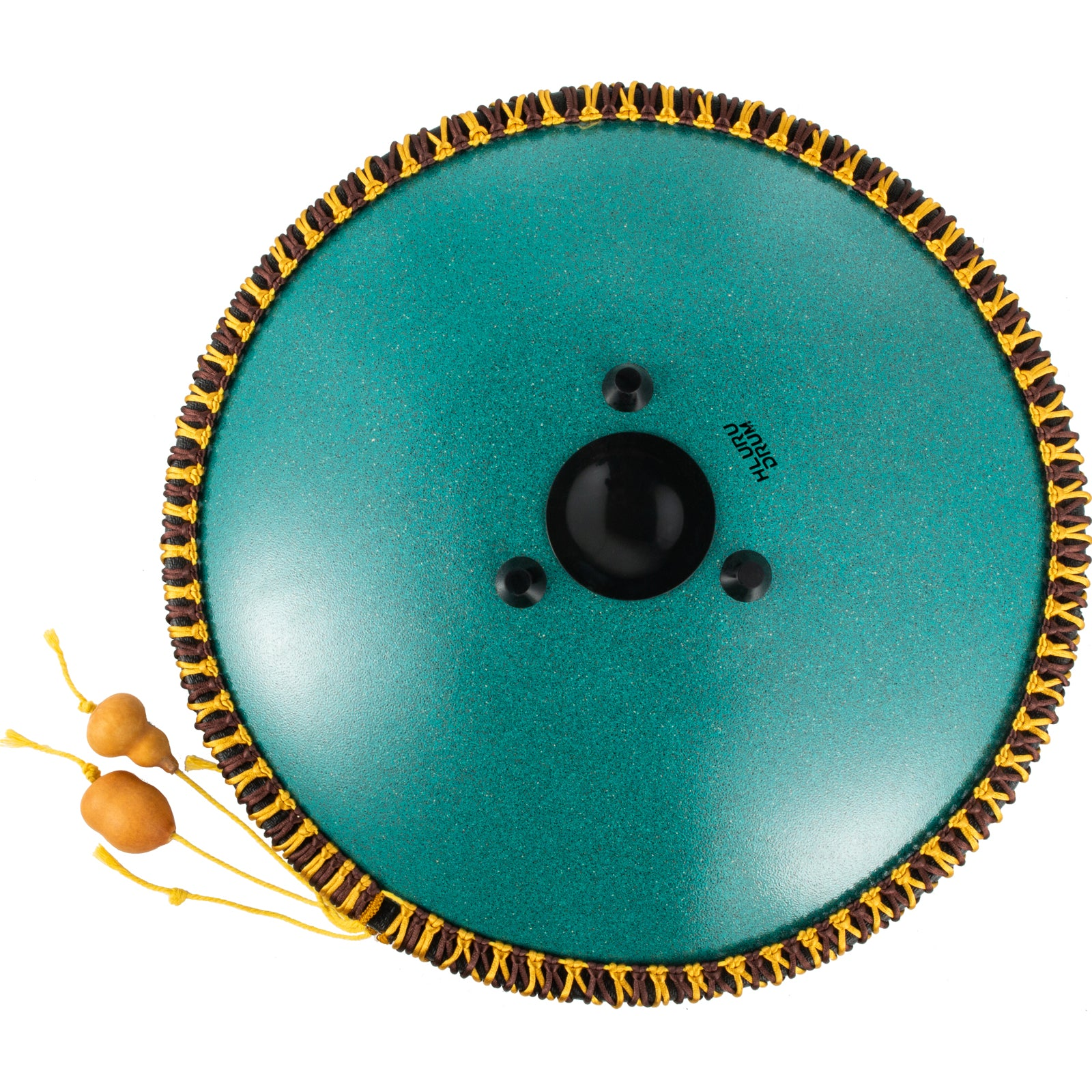 Tongue Drum 14note Dish Shape Drum 14 Inch Dia. W/ Rope Decoration Mineral Green