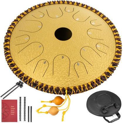 Tongue Drum 14 Notes Dish Shape Drum 14 Inches Dia. With Rope Decoration, Golden