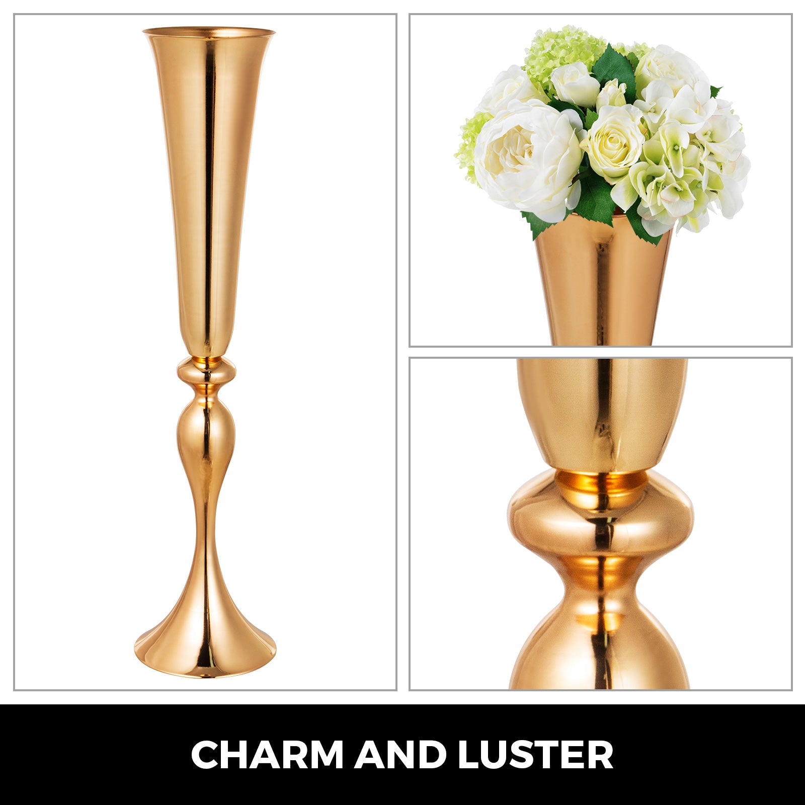 "Trumpet Vase Flower Vases Centerpiecegold 22"" For Party,celebration Ceremonies"