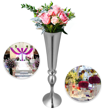 Sliver Trumpet Vase For Party Celebration Flower Vases Centerpiece 29.5