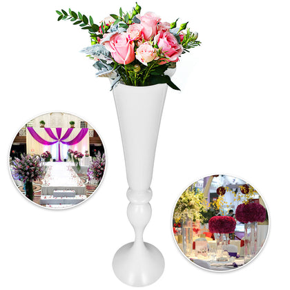 White Trumpet Vase For Party Celebration Flower Vases Centerpiece 22