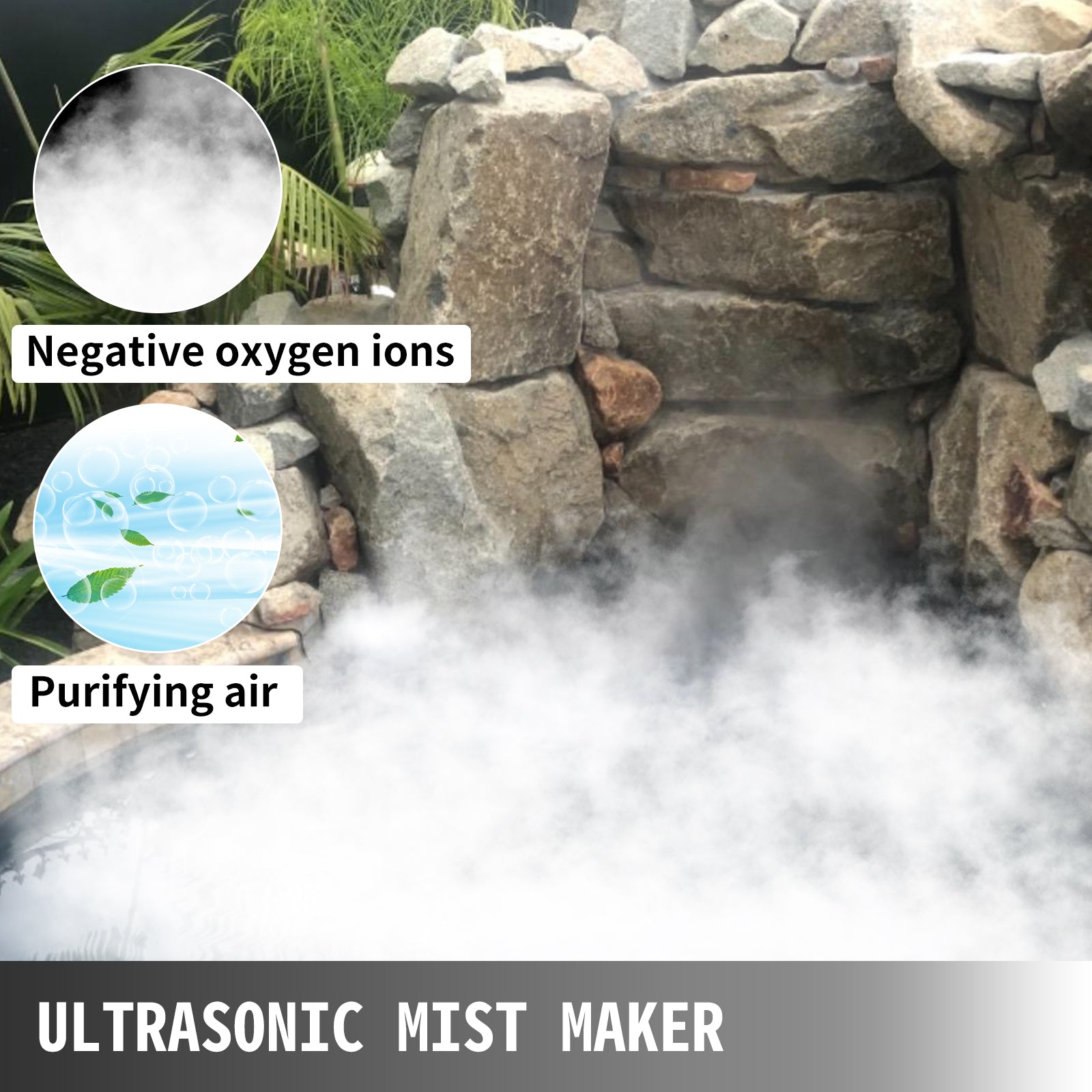 Vevor Pond Mist Maker, Ultrasonic Mist Fogger 6 Head Mist Humidifier Atomizer