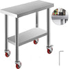"30"" X 12"" Stainless Steel Kitchen Work Table Restaurant Commercial With Wheels"