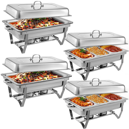 Chafing Dish Set 2 Packs Of 9l Chafer Dish S/steel Buffet Catering Food Warmer