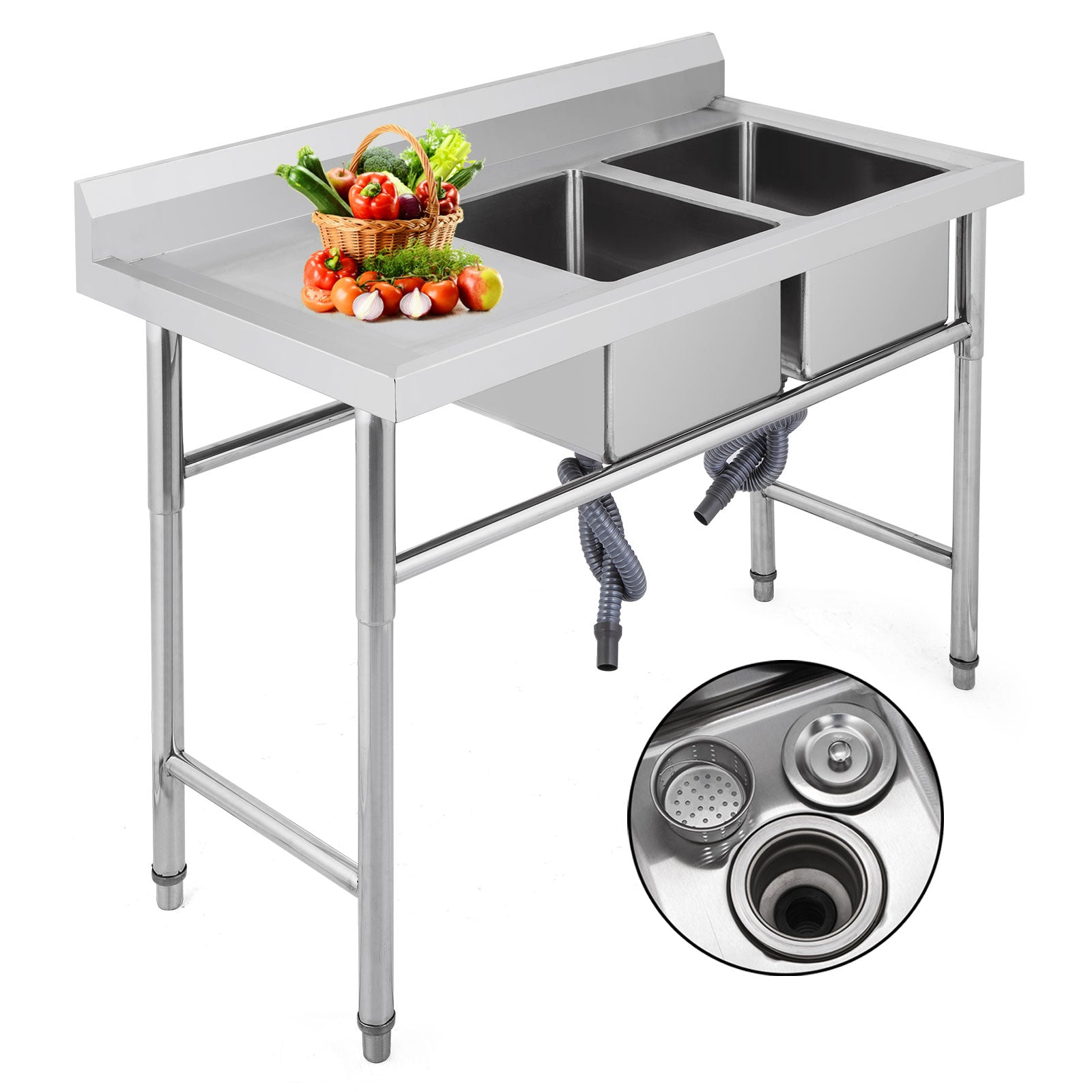 Stainless Steel Commercial Sink 2 Bowl Kitchen Catering Prep Table Wastekit